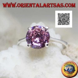 Rhodium plated solitaire silver ring with faceted pink round zircon set