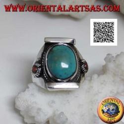 Anello in argento con turchese tibetano antico ovale  su montatura nepalese con corallo piccolo sui lati (22)