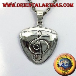 Plectrum pendant in silver with treble clef