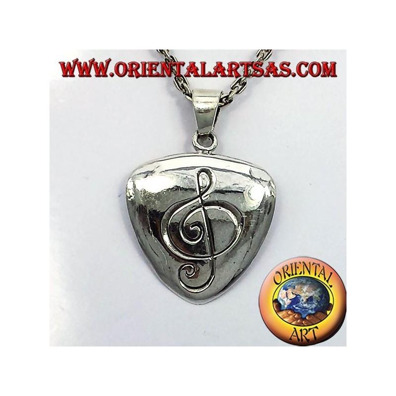 Ciondolo plettro in argento con chiave di violino