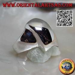 Anello in argento liscio a trapezio rettangolo smussato convesso