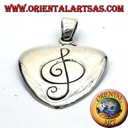 Plectrum pendant in silver with treble clef