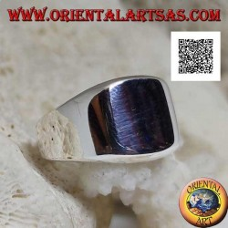 Anello in argento liscio con quadrato smussato arrotondato liscio (grande - 12 mm)