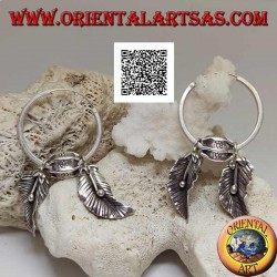 Silver hoop earrings (Karen) with hanging leaves with oriental fruit (alchechengi)