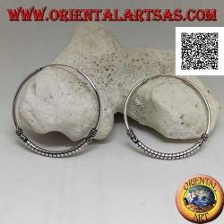 Orecchini in argento, cerchio lavorato dischi spessi tra serpentina e intrecci, 45 mm