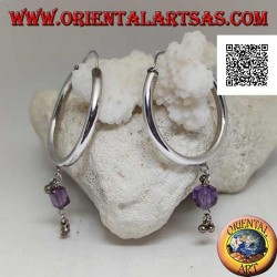 Thick smooth circle silver earrings with an amethyst cube pendant and balls