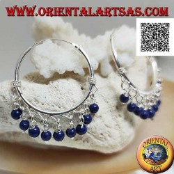 Silver hoop earrings with interlacing and 30 mm lapis lazuli pendant balls