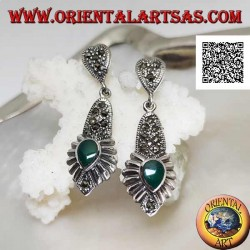 Silver earrings with a plate studded with marcasite pendant and an inverted drop of green agate