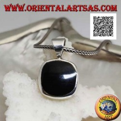 Silver pendant with rounded square onyx set flush with the edge on a smooth frame