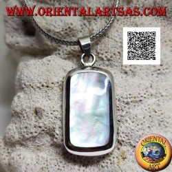 Silver pendant with round rectangular mother-of-pearl set flush with the edge on a smooth frame