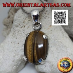 Silver pendant with large oval cabochon tiger eye set in a simple setting