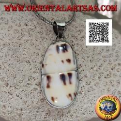 Ciondolo in argento con parte di gasteropode marino fossile (guscio/conchiglia) a filo su montatura liscia