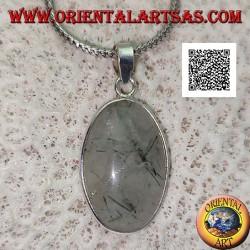 Ciondolo in argento con quarzo tormalinato ovale cabochon con cornice e gancio in argento liscio