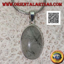 Silver pendant with oval cabochon tourmalinated quartz with smooth silver frame and hook