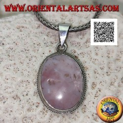 Silver pendant with rhodonite (Tanzania) oval surrounded by a double weave