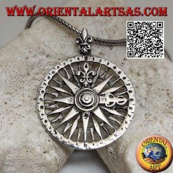 Silver compass with wind rose and lily pendant