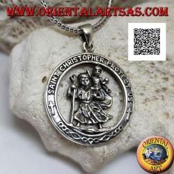 Ciondolo in argento, San Cristoforo nel cerchio con scritta sacra in latino in rilievo
