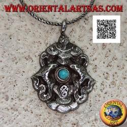 Anhänger in Silber Aṣṭamaṃgala die acht verheißungsvollen Symbole mit Türkis