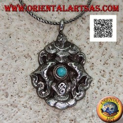 Pendant in silver Aṣṭamaṃgala the eight auspicious symbols with turquoise