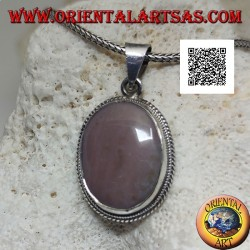 Silver pendant with rhodonite (Tanzania) oval surrounded by weaving