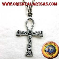 Egyptian ankh cross pendant with silver hieroglyphics
