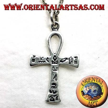 Ciondolo in argento croce ankh con geroglifici