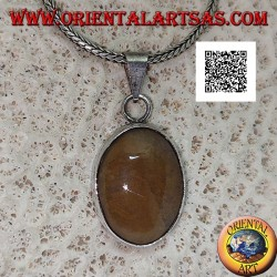 Silver pendant with oval cabochon tiger jasper with smooth frame