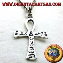 Egyptian Pendentif ankh croix avec hiéroglyphes argent