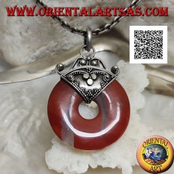 28mm donut shaped red jasper pendant. with hook decorated in silver bas-relief
