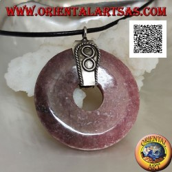 35 mm donut-shaped tanzanian rhodonite pendant. with silver hook and embossed infinity