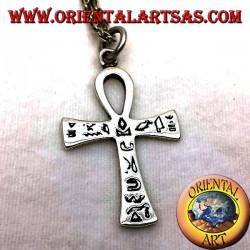 Colgante de la cruz egipcia Ankh con jeroglíficos de plata