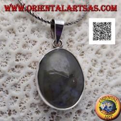Ciondolo in argento con agata muschiata ovale cabochon con cornice liscia