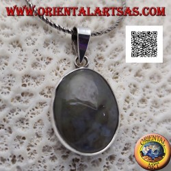 Silver pendant with oval cabochon moss agate with smooth frame
