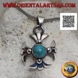 Ciondolo in argento croce greca con turchese antico tibetano tondo centrale e braccia di gigli