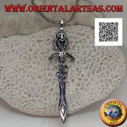 Silver sword pendant with double ratchets, guard and Inca face on the handle