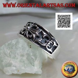 Silver ring with crescent ring with gothic cross of lilies and bas-relief decorations