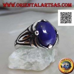 Silver ring with oval cabochon lapis lazuli set at 4 and engravings on the sides