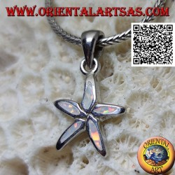 Silver pendant in the shape of a starfish with harlequin opal