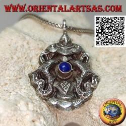 Aṣṭamaṃgala pendentif en argent les huit symboles de bon augure avec lapis lazuli