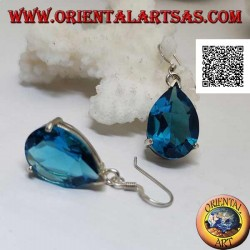 Silver drop earrings with large blue topaz drop set in a simple setting