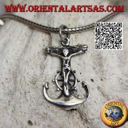 Ciondolo in argento a forma di àncora con timone e crocifisso cristiano