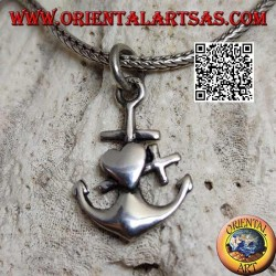 Silver pendant in the shape of an anchor with overlapping cross and heart