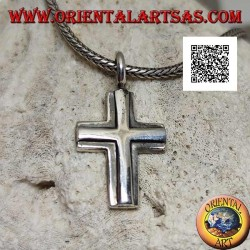 Silver pendant in the shape of a double smooth superimposed Christian cross