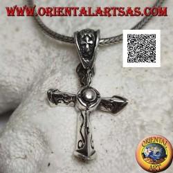 Colgante de plata cruz cristiana tridimensional puntiaguda con grabados en las 3 esquinas y cruz en el gancho