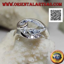 Rhodium-plated silver ring with white teardrop zircon with curved line below and three zircons above