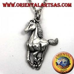 pendant horse galloping silver