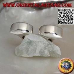 Anello in argento liscio squadrato aperto con due semisfere sul davanti