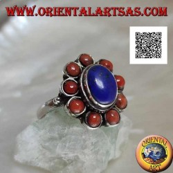 Silver ring with oval cabochon lapis lazuli surrounded by Tibetan corals (16)
