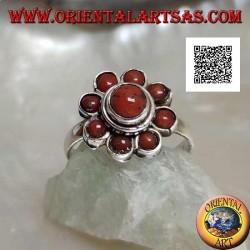 Anello in argento a forma di margherita piccola con coralli antichi Tibetani  (11)