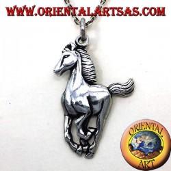caballo galopante colgante de plata